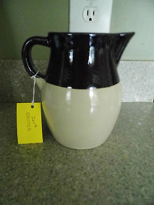 "Vintage Brown Glaze Stoneware Creamer Pitcher  - 6 ½"" Tall"