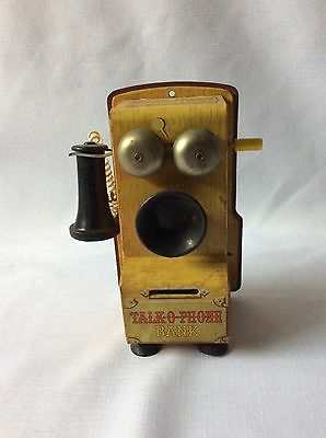 HTF Vintage Antique Tin Toy Talk O Phone Coin Bank Wind Up Telephone Japan