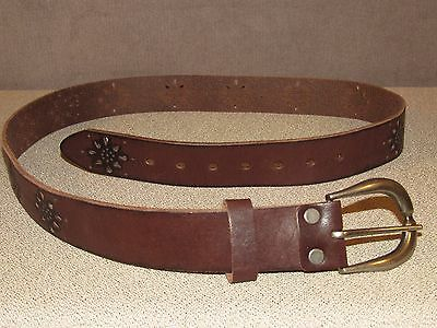 Tooled Brown Leather Fashion Jeans Belt 40-42