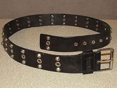 MICHAEL KORS Black Leather Studded Fashion Jeans Belt Size 36