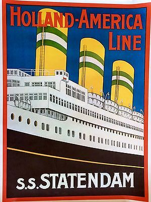 Vintage Holland America Line Cruise Ship Travel Collectible Poster Ss Statendam