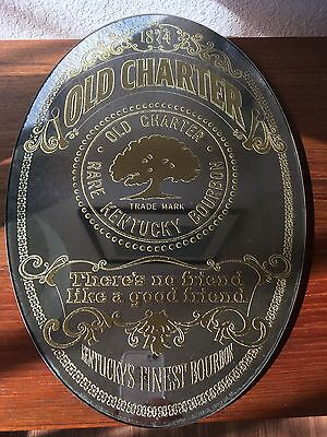 Vintage Old Charter Whiskey Mirror Gold Inlayed Rare Kentucky Bourbon U.S.A