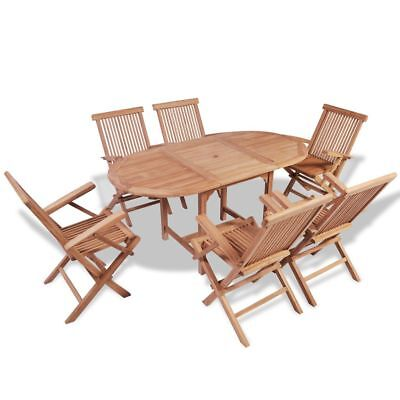 B#7 Piece Teak Wooden Garden Outdoor Dining Set Extendable Table and Folding Cha