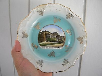 PUBLIC LIBRARY Vintage Souvenir China Plate - MILWAUKEE WISCONSIN