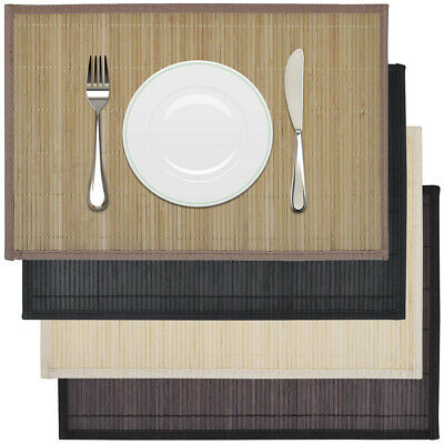 6 Bamboo Rectangle Placemats Table Mats Coasters 30x45cm Non-slip 4 Colours