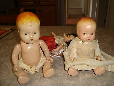 2 Antique/Old Composition Baby Dolls Painted face 3rd free