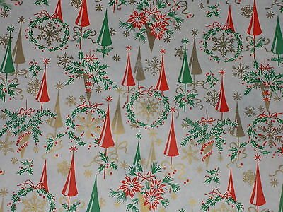 Vtg Christmas 1950 Old Store Wrapping Paper 2 Yards Gift Wrap Atomic Age