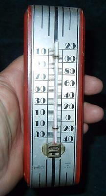 """Early 7"""" Art Deco Wood & Metal Kitchen Thermometer Ohio Made In Usa"""