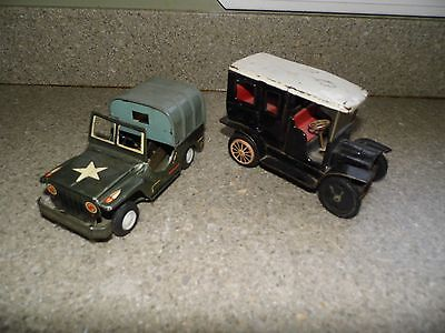 Vintage Tin Friction Toys - Army Jeep & Model T -Parts or Restoration