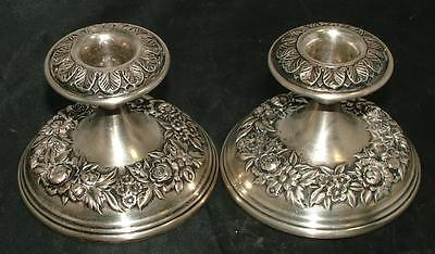 S. Kirk & Son STIEFF Sterling Silver Repousse Candlestick Candle Holders