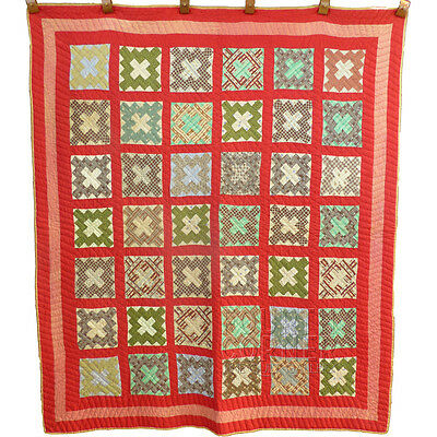 DELIGHTFUL QUIRKY Chimney Sweep Scrapbag ANTIQUE handmade QUILT red green ca1880