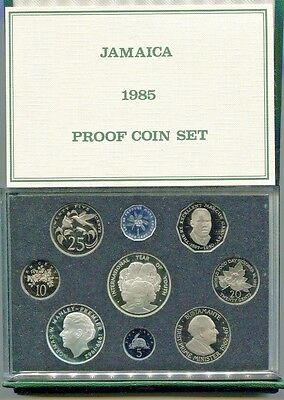 1985 Jamaica Proof Set 9 Coins 2 Silver Original Pack w/COA Limited Edition 1000
