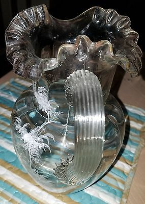 Antique Mary Gregory Hand Painted Clear Glass Pitcher and Two Tumblers