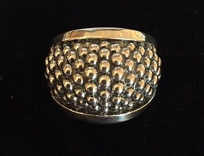 Sterling Silver 925 Lagos Caviar Ring Size 7 New Beaded Modernistic