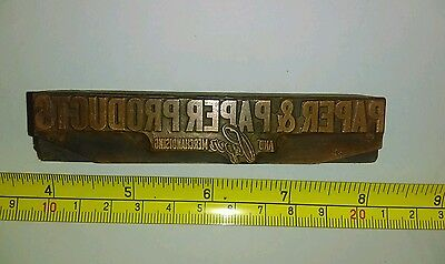Vintage Letterpress Printing Block Paper & Paper Products Advertising Rare