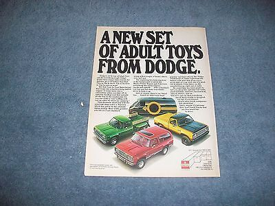 "1978 Dodge Trucks Vintage Ad ""A New Set of Adult Toys from Dodge"""