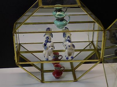 Vintage Octagonal Etched Glass & Brass Miniatures Display Case Curio Cabinet VGC