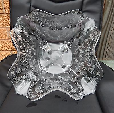 "Large Vintage Cambridge Crystal Bowl Diane Ruffled Top Shell Feet 12 1/4"" Etched"