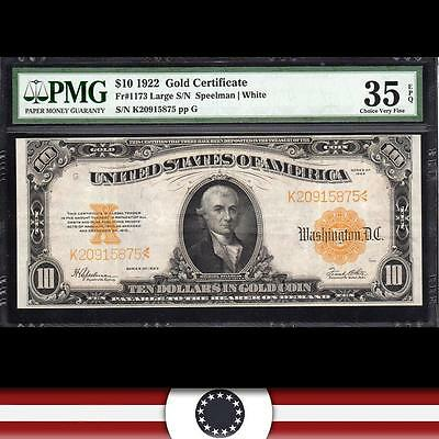 1922 $10 GOLD Certificate Large Bank Note PMG Choice 35 EPQ Fr 1173    K20915875