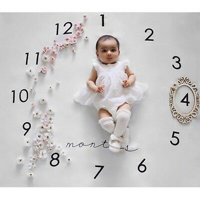 Newborn Baby Milestone Blanket Photography Prop Letter Backdrop Cloth 100x100