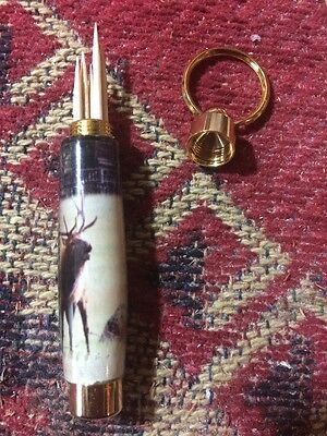 toothpick holder keychain Hand Turned Bull Elk Picture