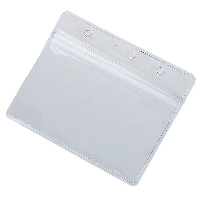 10 x Clear Vertical ID Badge Card Plastic Pocket Holder Pouches 100 x 83mm L1V2