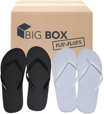 Lot of 48 Pairs Wholesale Women's Plain Black & White Flip Flops Bulk Flip Flop