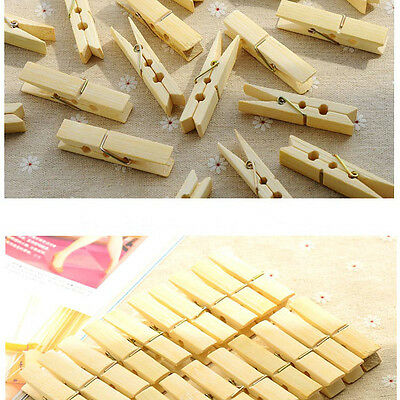 20 Pcs Bamboo Clothespins Laundry Clothes Pins Large Spring Regular Size Nice