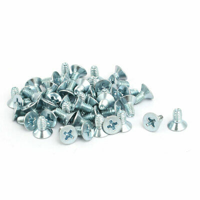 M4x8mm Countersunk Phillips Head Triangle Thread Screw Bolt Silver Blue 50pcs