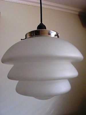 art deco retro antique vintage 1920-40's stepped etched glass pendant light