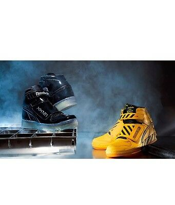 Reebok Alien Stomper Mid Final Scene Battle Pack Black Yellow w Receipt Sz  4- fa2e558a7