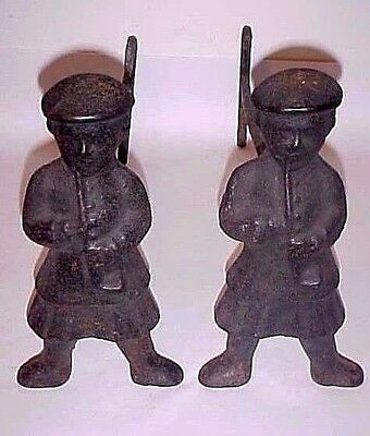 Antique Cast Iron Scotsman Andirons Circa Mid 19Th Century