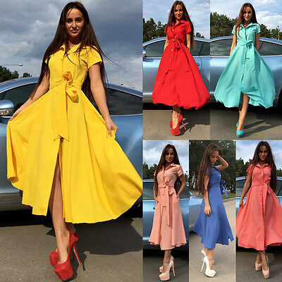 Women Summer Boho Long Maxi Cocktail Party Beach Holiday Button Shirt Lady Dress