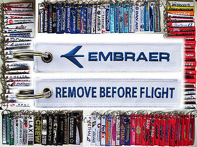 Keyring EMBRAER White Remove Before Flight baggage tag label keychain for Pilot