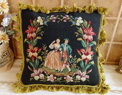 "16"" Antique Chic Victorian Young Lovers Home Decor Throw Needlepoint Petit Point"
