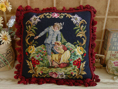 "16"" Antique Chic Victorian Young Lovers Beautiful Throw Needlepoint Petit Point"