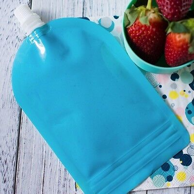 My Lil Pouch! 140ml Blue Top Spout Reusable Food Pouch - 5 pack