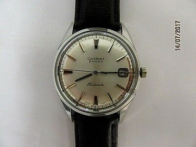 1960s Cortebert Envoy Stainless Steel Automatic Date Wrist Watch
