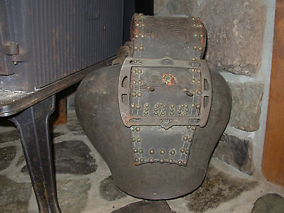 Outstanding Huge Vintage Swiss Cow Bell Dated 1912 In Studs And Leather *rare*