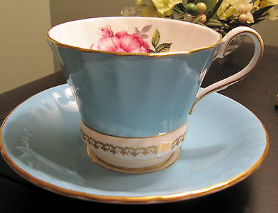 Aynsley Turquoise with Large Pink Rose & Buds Cup and Saucer