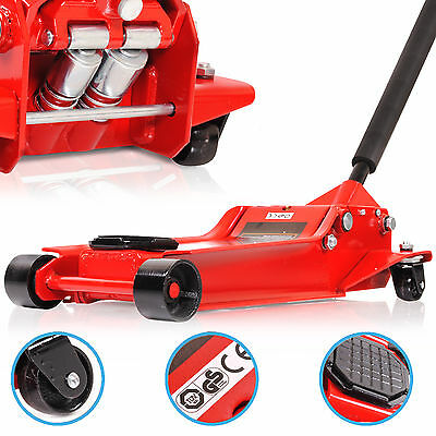 3 TON SUPER LOW 98mm ENTRY HYDRAULIC TWIN PISTON GARAGE CAR TROLLEY JACK STAND