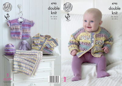 King Cole 4795 Knitting Pattern Baby Cardigan Hat Blanket
