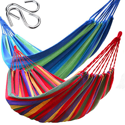Double Cotton Fabric Hammock Bed Combo Swinging Chair Outdoor Hanging Camping