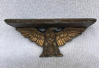 Antique Folk Art Wall Shelf With American Eagle