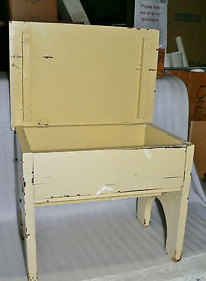 "Vintage Wood Sewing Storage Footstool Stand Bench Flip Top Box 16"" x 11 Sturdy"