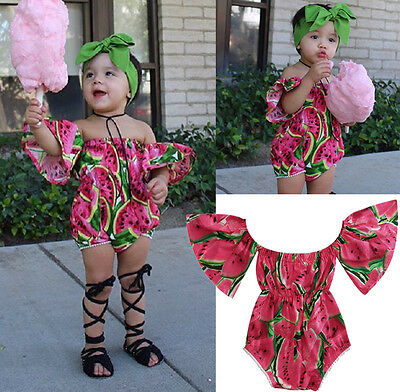 Fashion Newborn Baby Girl Off Shoulder Floral Ruffle Romper Outfits Clothes 0-6M