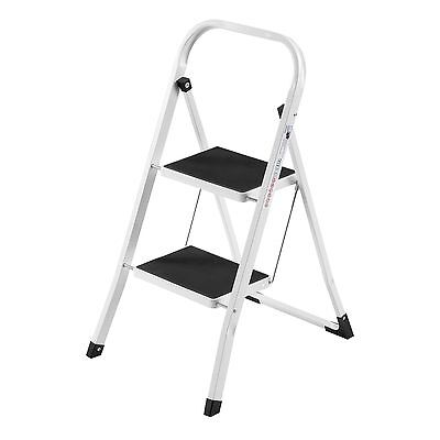 VonHaus 2 Step Ladder Stool Heavy Duty Steel Folding Portable Gripped Anti Slip