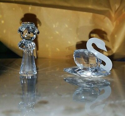 Lot of 2 Crystal Figurines angel and swan Asfour Crystal