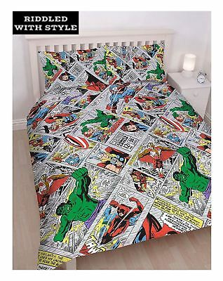 Kids Marvel Comics Hulk Avengers Reversible Double Rotary Duvet Bedroom Set