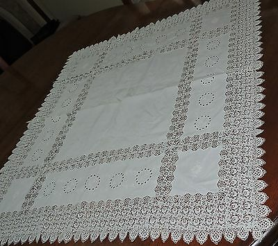"Vintage White Irish Lace Cotton Tablecloth 35"" Square Supper Cloth Embroidered"